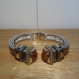 Vtg. Piscitelli Cabachon Ornate Hinged Bracelet